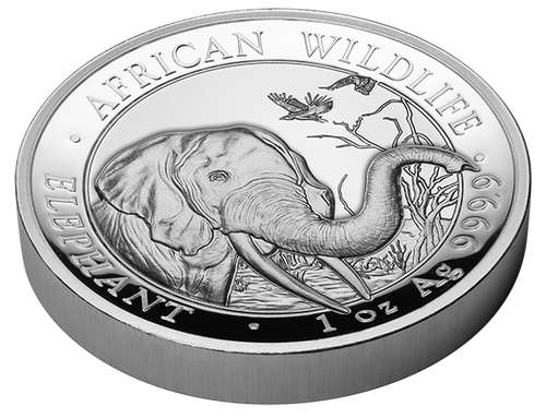 2018 ELEPHANT-African Wildlife 1 oz High Relief Silver Coin - 100 Sh Somalia