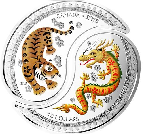 YIN - YANG - TIGER & DRAGON $10 Silver Coin 2018 Canada
