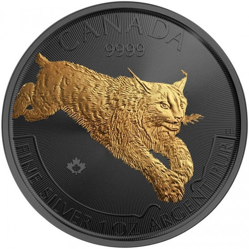 LYNX Golden Enigma 1 Oz Silver Black Ruthenium Coin Canada 2017