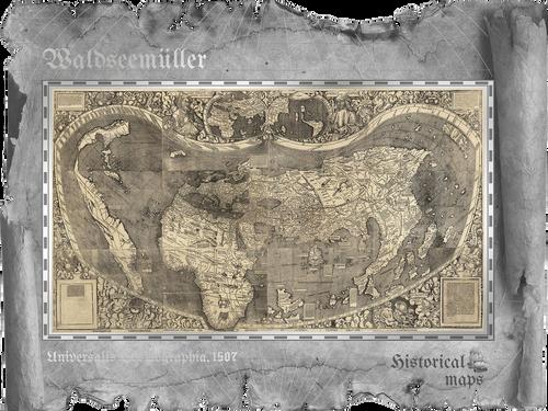 WALDSEEMULLER Historical Maps Foil Silver Note 5$ Cook Islands 2018