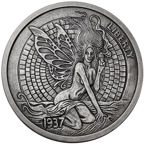 GREEN FAIRY FISHBONE 1 oz Silver Antique finish round with Serial Number