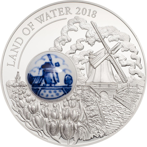 LAND OF WATER Windmill Royal Delft Silver Coin 10$ Cook Islands 2018