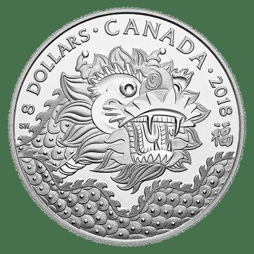 DRAGON LUCK – $8 1/4 OZ Fine Silver Coin Canada 2018