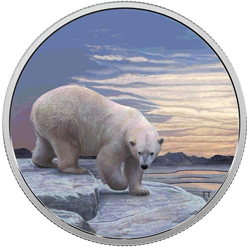 POLAR BEAR Glow Northern Lights 2 Oz Silver Coin 30$ Canada 2018