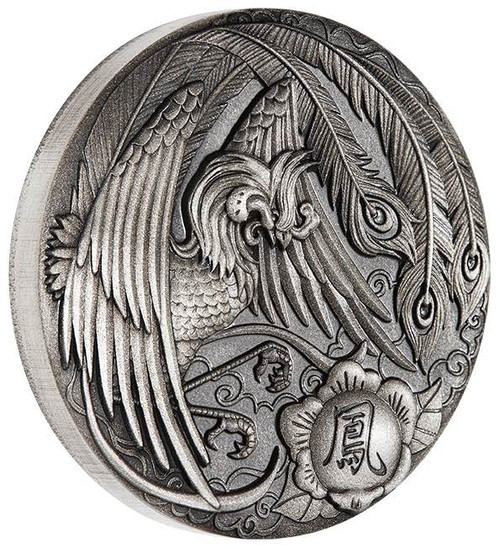 PHOENIX 2 OZ Pure Silver Antiqued Coin 2$ Tuvalu 2017