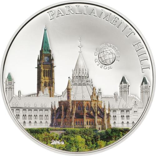 Palau 2013 5$ World of Wonders VIII PARLIAMENT HILL Ottawa Proof Silver Coin