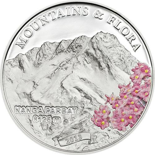 Mountains & Flora NANGA PARBAT Kashmir Silver Coin Palau 2013