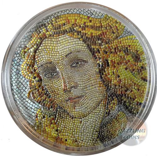 BIRTH OF VENUS Botticelli Great Micromosaic Passion 3 Oz Silver Coin 20$ Palau 2017