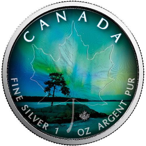 NORTHERN LIGHTS - QUEBEC - 1 oz Silver Coin - Canadian Maple Leaf 2018