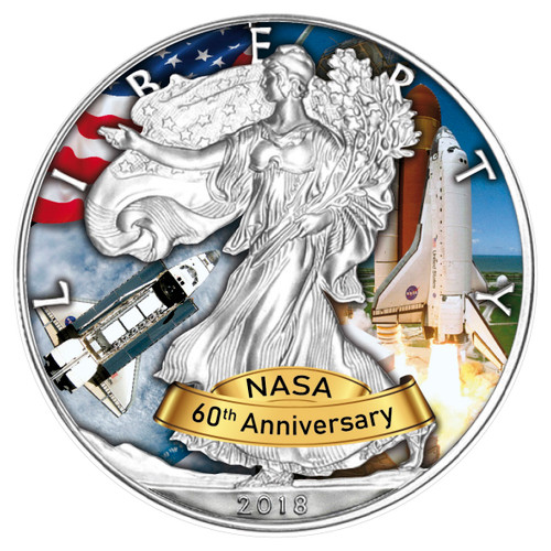 Space Shuttle 60 Years Nasa 1 Oz Silver American Eagle Usa 2018