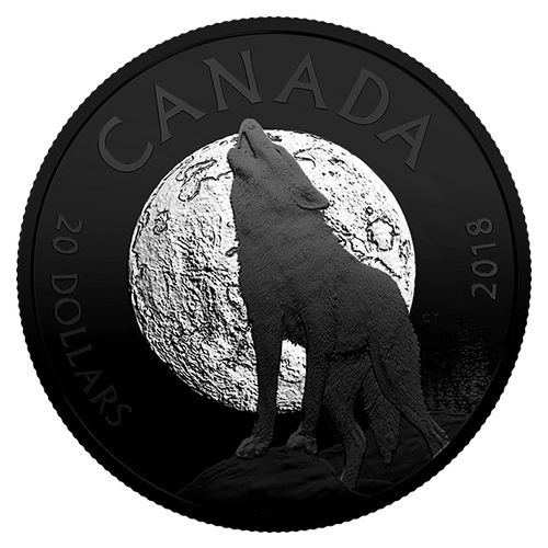 THE HOWLING WOLF - NOCTURNAL BY NATURE- $20 1 oz Silver Coin - 2018 Canada