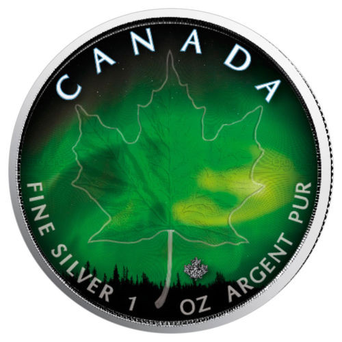 NORTHERN LIGHTS - MANITOBA - 1 oz Silver Coin - Canadian Maple Leaf 2018