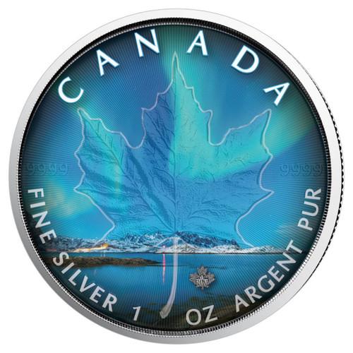 NORTHERN LIGHTS - NUNAVUT - 1 oz Silver Coin - Canadian Maple Leaf 2018