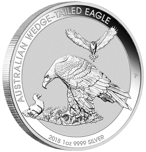 AUSTRALIA WEDGE TAILED EAGLE – 2018 1 OZ BU SILVER COIN IN CAPSULE