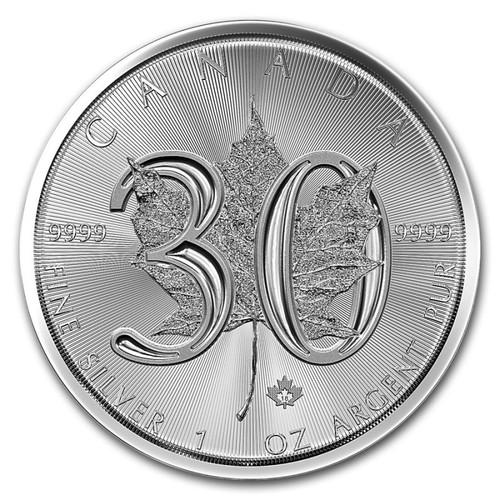 SILVER MAPLE LEAF – 30TH ANNIVERSARY  – 2018 1 oz Pure Silver Coin