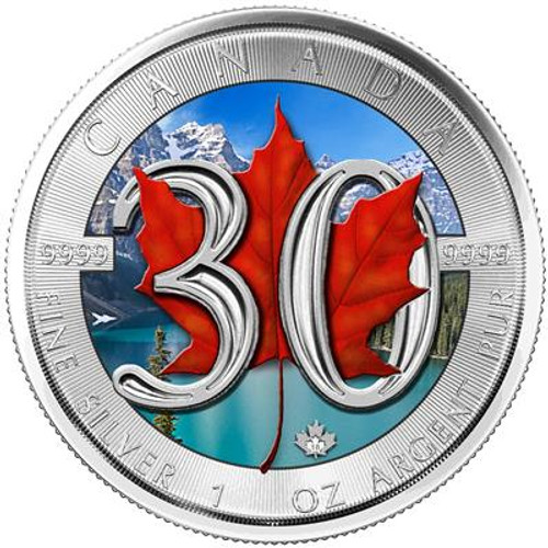MAPLE LEAF – 30TH ANNIVERSARY – 2018 1 oz Silver Color Coin