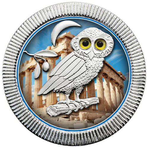 OWL of ATHENS - ANCIENT PAINTING Silver color coin 1 OZ Niue 2018