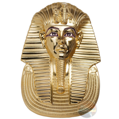 TUTANKHAMUNS MASK Shaped 3 Oz Silver Coin 20$ Palau 2018