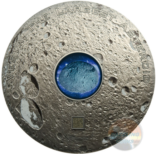 VESTA THE LARGEST ASTEROID Hed Meteorites 3 Oz Silver Coin 20$ Cook Islands 2018