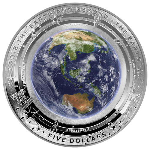 Domed Earth and Beyond: The Earth 1 oz Silver $5 coin 2018 Australia