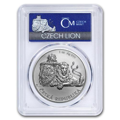 CZECH DOUBLE-TAILED LION - 1 oz Silver Coin MS-69 PCGS FS 2018 Niue