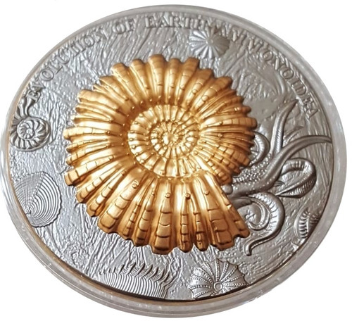 AMMONOIDEA Ammonite Evolution of Earth 2 Oz Silver Coin 2$ Niue 2018