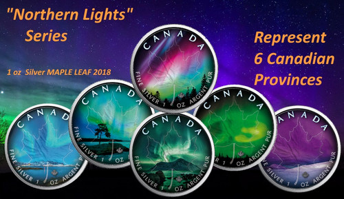 NORTHERN LIGHTS - Set of 6 coins - 1 oz Silver Coin - Canadian Maple Leaf 2018