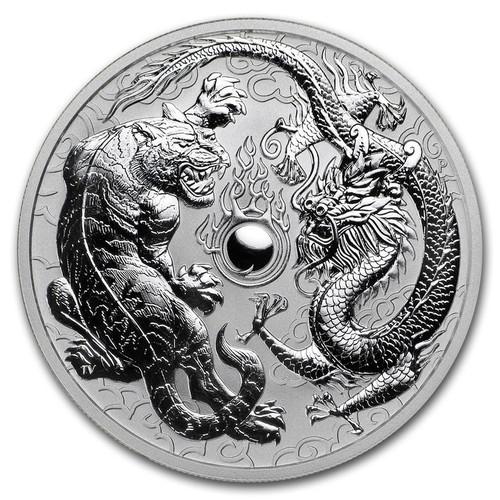 2018 1 oz Australian Dragon and Tiger  .9999 Silver Coin