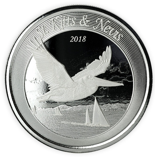 Brown Pelican 1 oz .999 Silver BU Coin St. Kitts & Nevis 2018