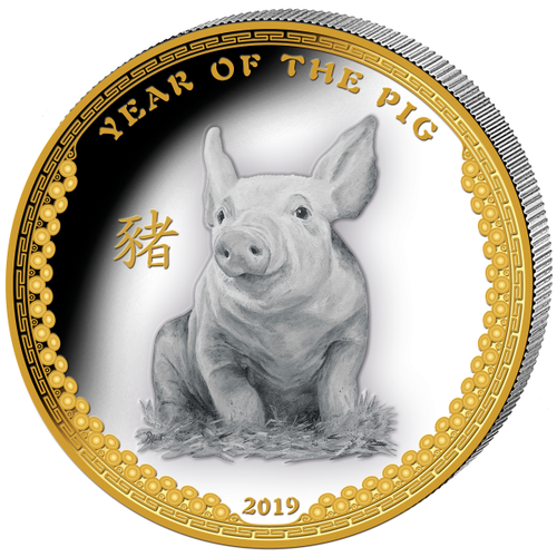 Year Of The Pig - 1 oz Proof Silver Coin - Ultra High Relief 2019 Palau