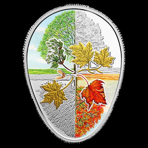 Four Seasons Maple Leaf Cycle Egg-shaped 1 oz Silver Proof Canada 2018