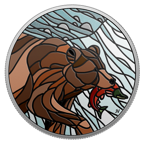 GRIZZLY BEAR – CANADIAN MOSAICS – 2018 $20 1 oz Proof Silver Coin