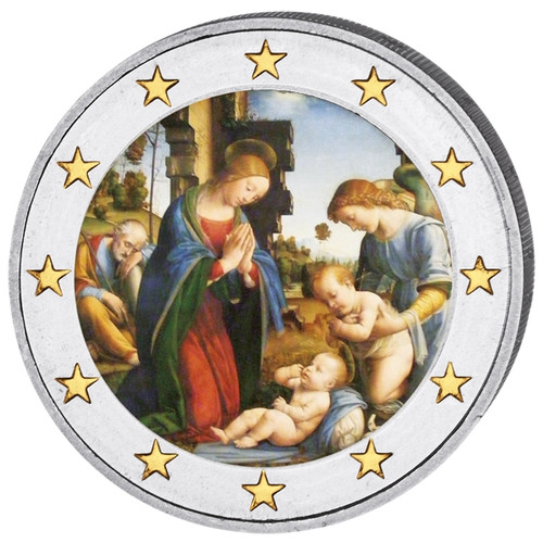 2 Euro Christmas Colored Coin with Jesus Birth Scene