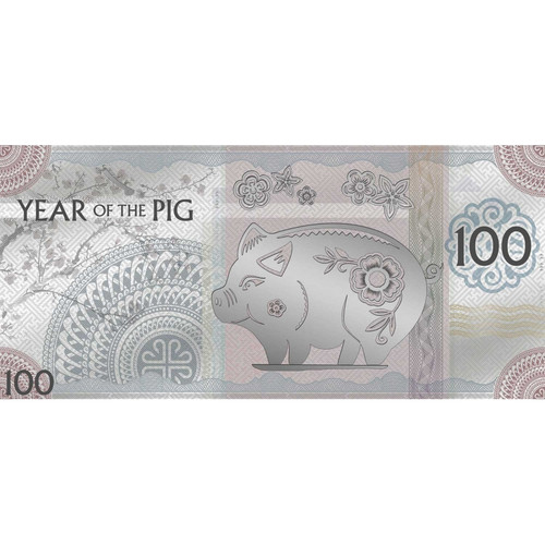 YEAR OF THE PIG Foil Silver Note 100 Togrog Mongolia 2019