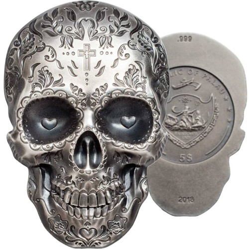 CATRINA DAY OF THE DEAD Dia Muertos Shape 1 Oz Silver Coin 5$ Palau 2018