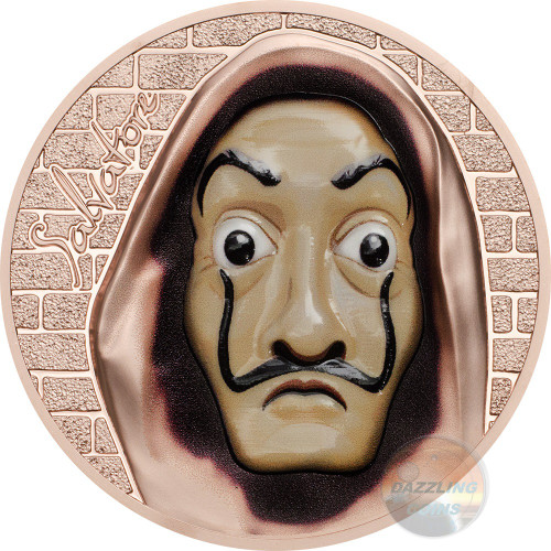 SALVATORE Dali Money Heist 1 Oz Silver Coin 5$ Cook Islands 2018