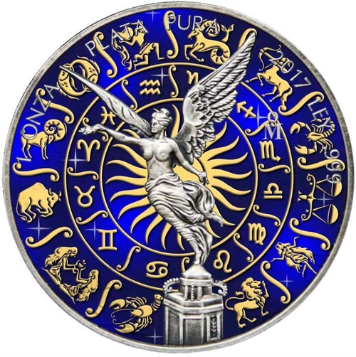 LIBERTAD ZODIAC SIGNS Antique Finish Color Coin MEXICO 2018