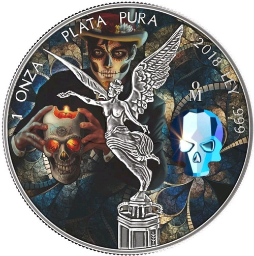 CRYSTAL SKULL Day of the Dead Libertad 1 Oz Silver Coin Mexico 2018