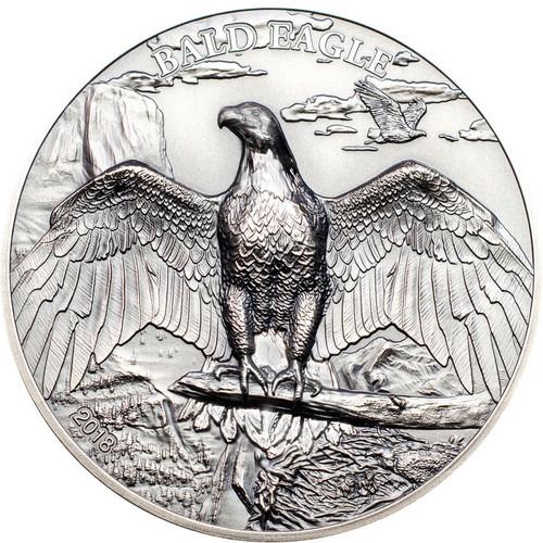 BALD EAGLE High Relief Animals 1 Oz Silver Coin 5$ Cook Islands