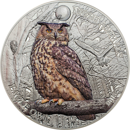 EAGLE OWL Night Animals 1 Oz Silver Coin 5$ Cook Islands 2018