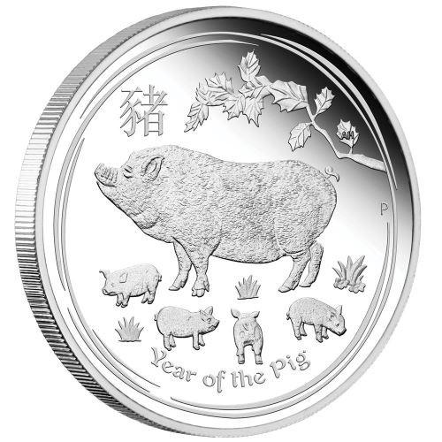 PIG Lunar Year Series 1 Oz Silver Proof Coin 1$ Australia 2019