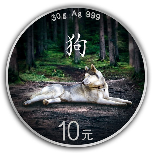 2018 Silver Panda Lunar Dog Colorized 30g Chinese Coin
