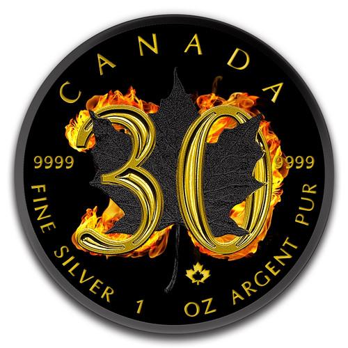 2018 Maple Leaf 30th Anniversary Burning 1 oz Silver Coin $5 Canada
