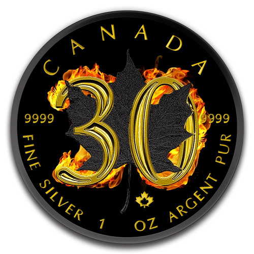 2018 Maple Leaf 30th Anniversary Burning 1 oz Silver Coin $5 Canada