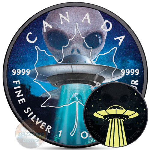ALIEN & UFO – GLOW IN THE DARK – Maple Leaf 1 oz silver Ruthenium Coin 2018