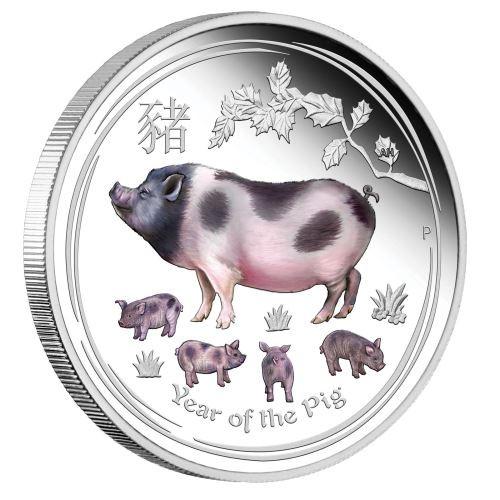 PIG Lunar Year Series 1 Oz Silver Proof Color Coin 1$ Australia 2019
