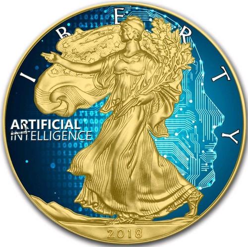 ARTIFICIAL INTELLIGENCE - 24K GOLD GILD Liberty 1 Oz Silver Coin 2018