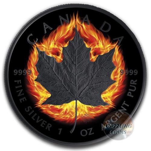 2018 BURNING MAPLE LEAF DOUBLE INCUSE 1 Oz Silver Ruthenium Coin