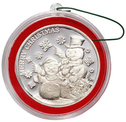 2018 SNOWMAN 1 oz Fine Silver Christmas Round