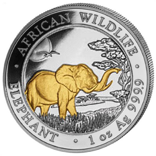 2019 ELEPHANT 1 Oz Silver Gold Gilded Coin Somalia